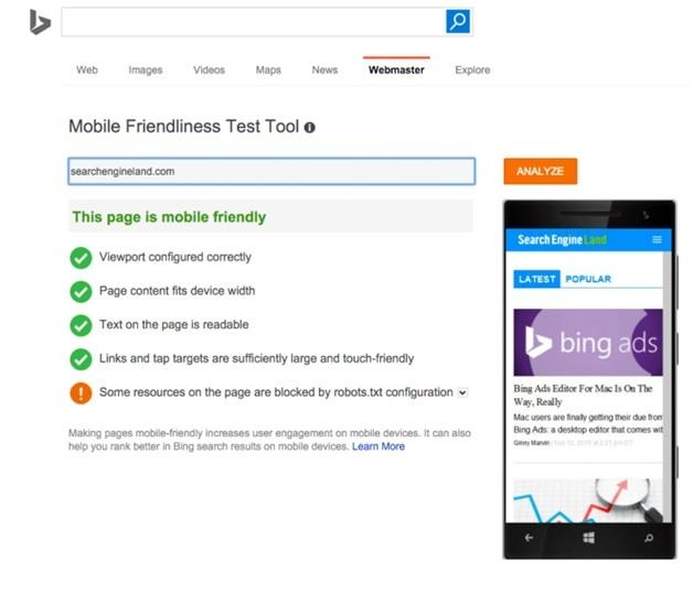Bing's mobile-friendliness test