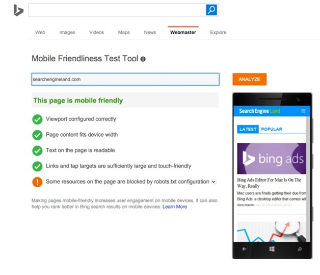 Bing's mobile-friendliness test